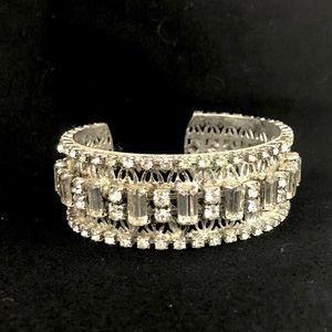 Vintage Rhinestone Cuff Bracelet Wide Silver